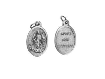 Santa Marta. 2cm Medalla ovalada plateada