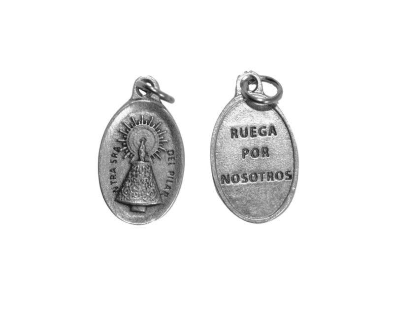 Virgen del Pilar. 2cm Medalla ovalada plateada