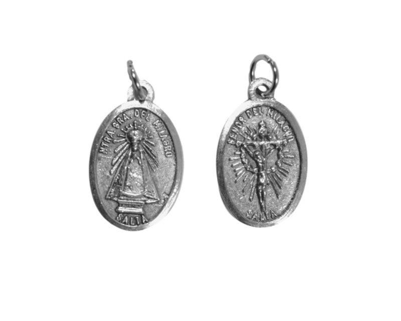 Virgen y Señor del milagro de Salta. 2cm Med oval plateada