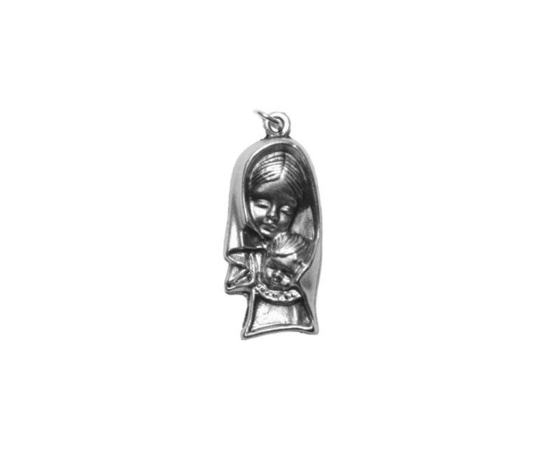 Virgen con niño grande Medalla plateada