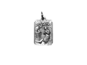 Santa Rita rectangular Medalla plateada