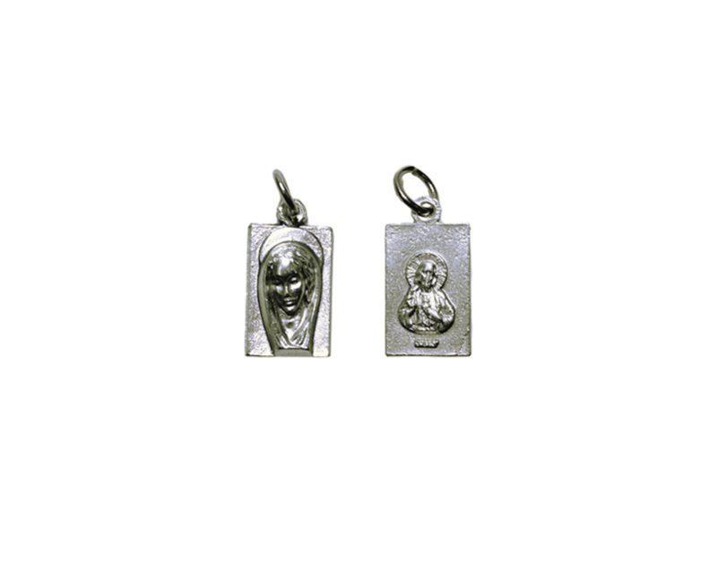 Virgen rectangular chica Medalla plateada