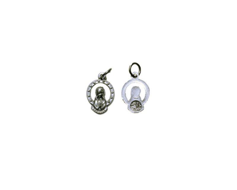 Virgen c/aureola mini Medalla plateada