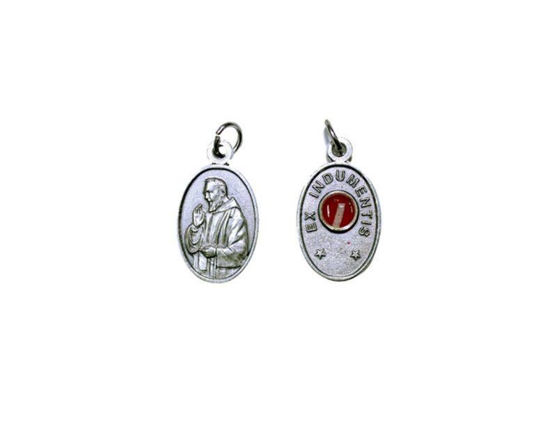 Padre Pio c/reliquia Medalla plateada