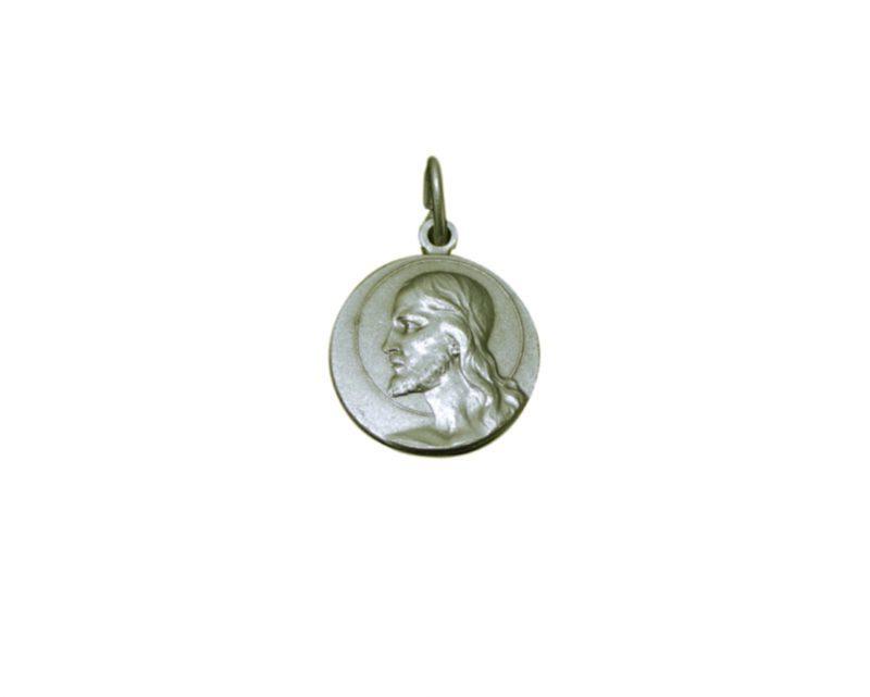 Perfil Cristo redonda Medalla italiana plateada 18mm