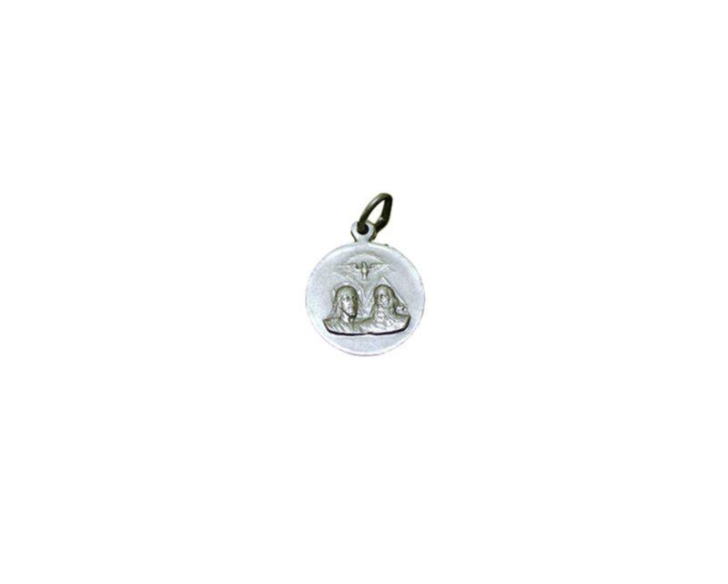 Santísima Trinidad redonda Medalla italiana plateada 18mm