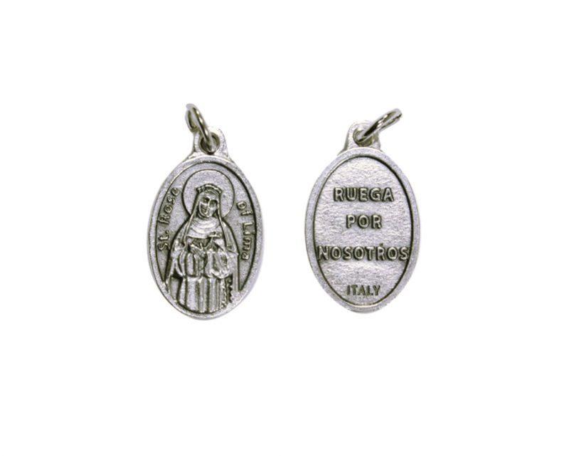 Santa Rosa de Lima. 2cm Medalla ovalada plateada