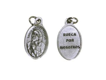 Santa Teresa de Calcuta. 2cm Medalla ovalada plateada