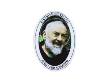 Adhesivos doble faz ovalado Padre Pio. 11cm