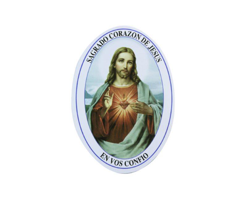 Adhesivos doble faz ovalado Sagrado Corazón de Jesús. 11cm