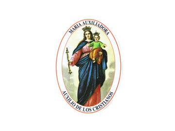 Adhesivos doble faz ovalado María Auxiliadora. 11cm