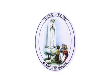 Adhesivos doble faz ovalado Virgen de Fátima. 11cm