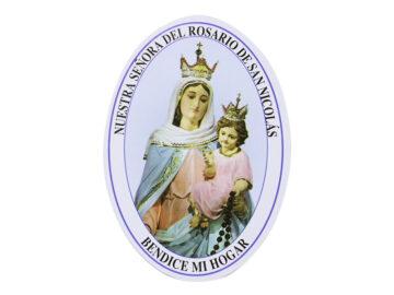Adh doble faz ovalado - Virgen de Rosario de San Nicolás 11cm