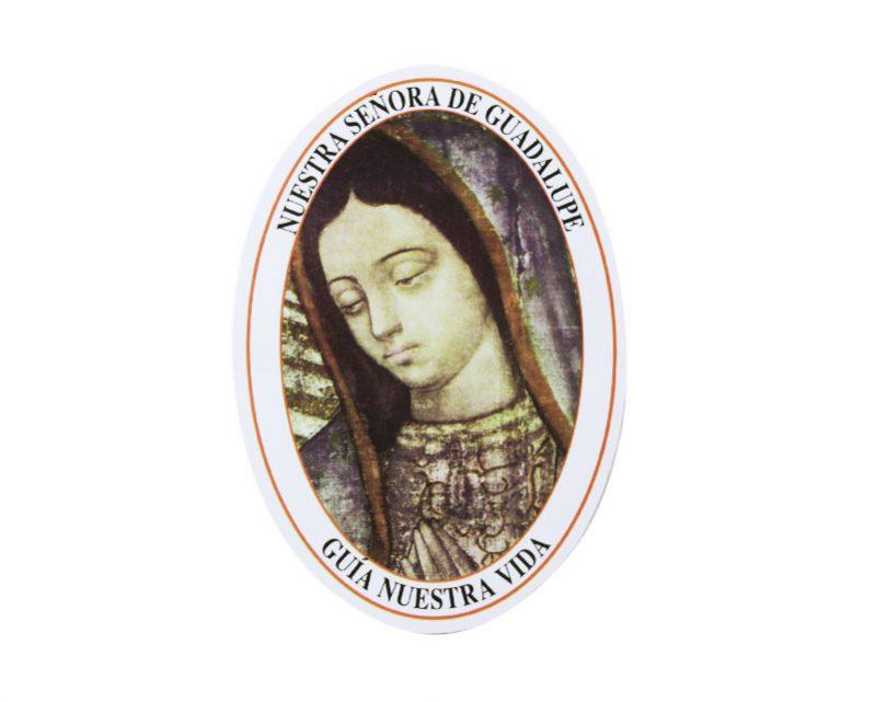Adhesivos doble faz ovalado Nuestra Sra De Guadalupe. 11cm