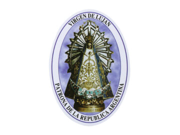 Adhesivos doble faz ovalado Virgen de Luján. 11cm
