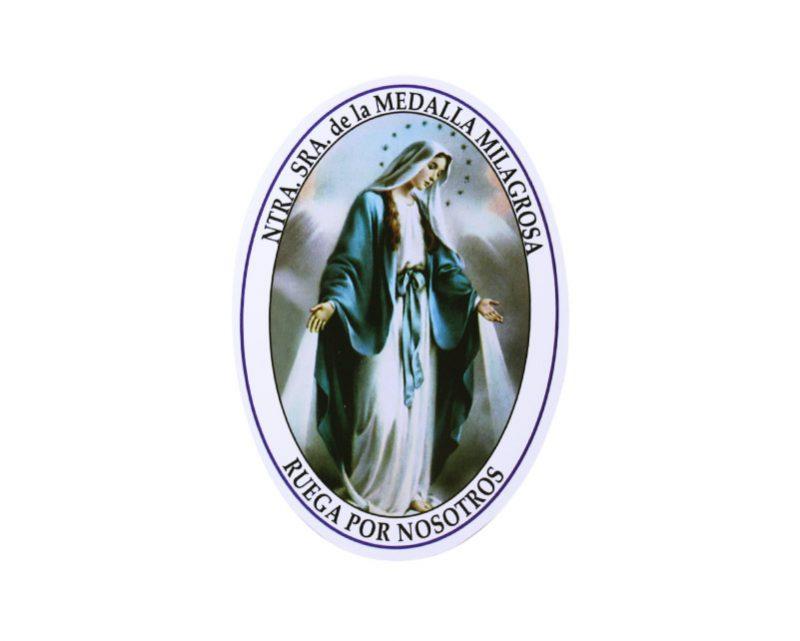 Adhesivos doble faz ovalado Virgen Medalla Milagrosa. 11cm