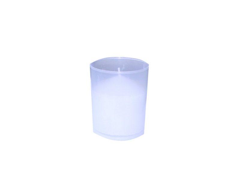 Vela votiva chica c/vaso plástico blanco (20 hs)