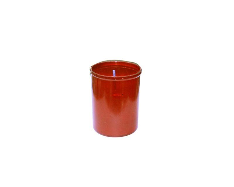 Vela votiva chica italiana c/vaso plástico rojo (12hs)