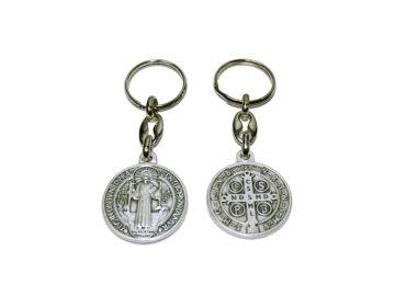 San Benito medalla plateada Llavero italiano