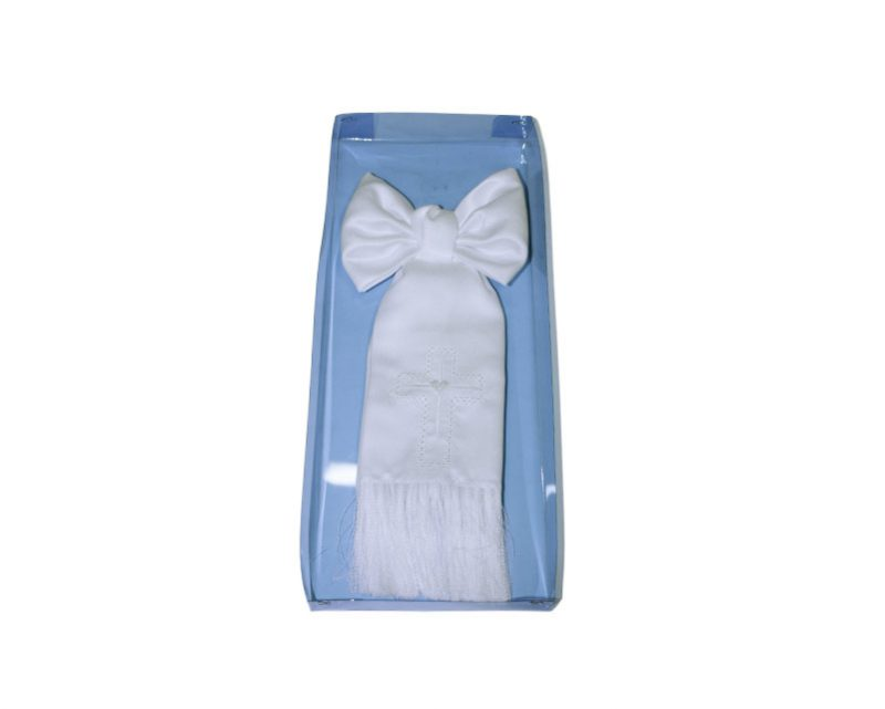 Moño blanco comunión c/ bordado blanco 27cm