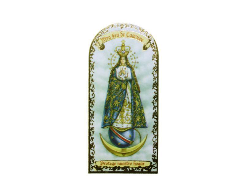 Nuestra Señora de Caacupé 3x7cm.  Imán Capilla de cartón