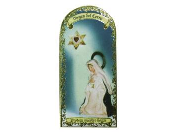 Virgen del Cerro 3x7cm Imán Capilla de cartón