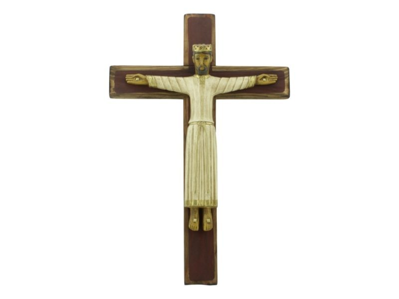 Cruz de madera con Cristo Catalan de ceramica