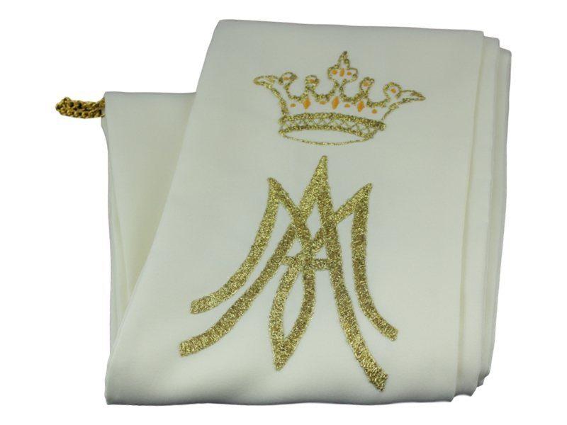 Estola Diaconal reversible color crema y bordado dorado