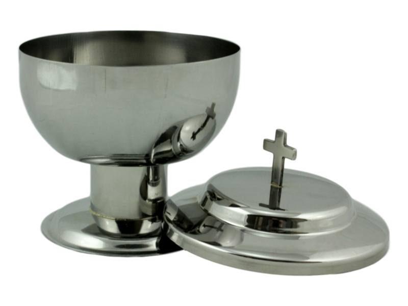 Copon liturgico de acero inoxidable de base alta abierto