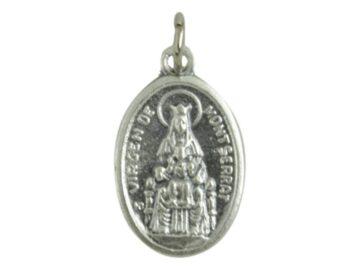 Medalla peltre ovalada Virgen de Montserrat frente