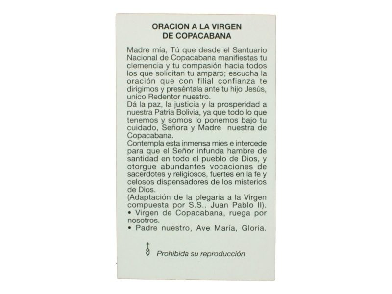 Oracion Nuestra Señora de Copacabana