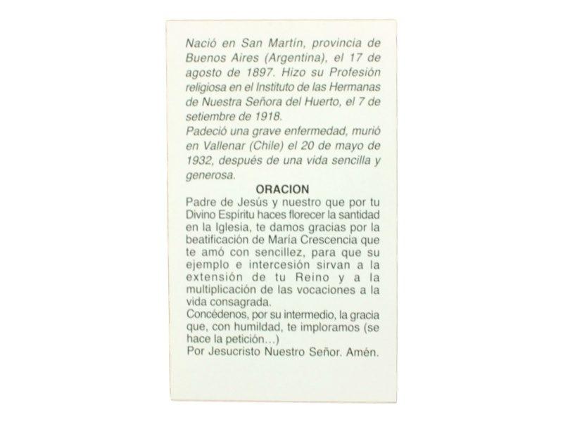 Oracion a Beata Maria Crescencia Perez