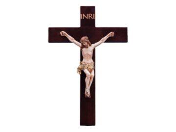Cruz de madera de 65cm con cristo de resina