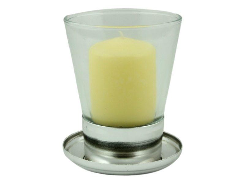 Liturgia Candelero de hierro plateado - con vela