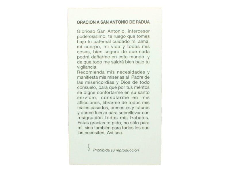 Estampita San Antonio de Padua oracion