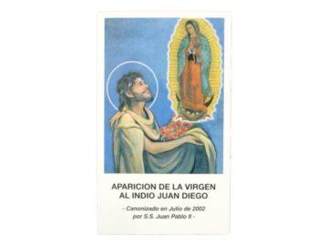 Estampita Aparicion de la Virgen al indio Juan Diego frente