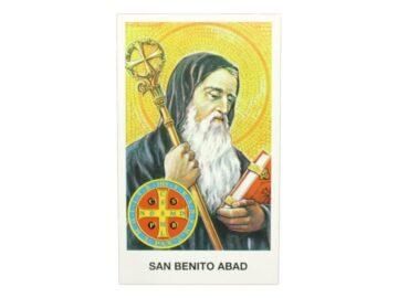 Estampita San Benito Abad frente
