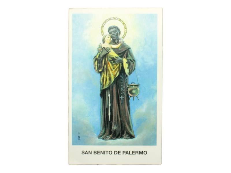 Estampita San Benito de Palermo frente