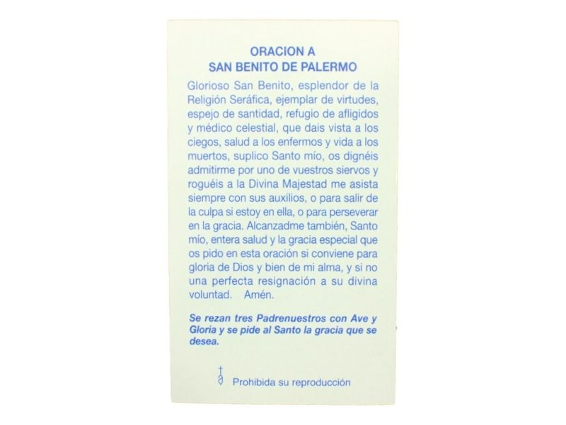 Estampita San Benito de Palermo oracion