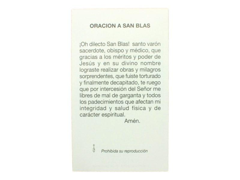 Estampita San Blas oracion