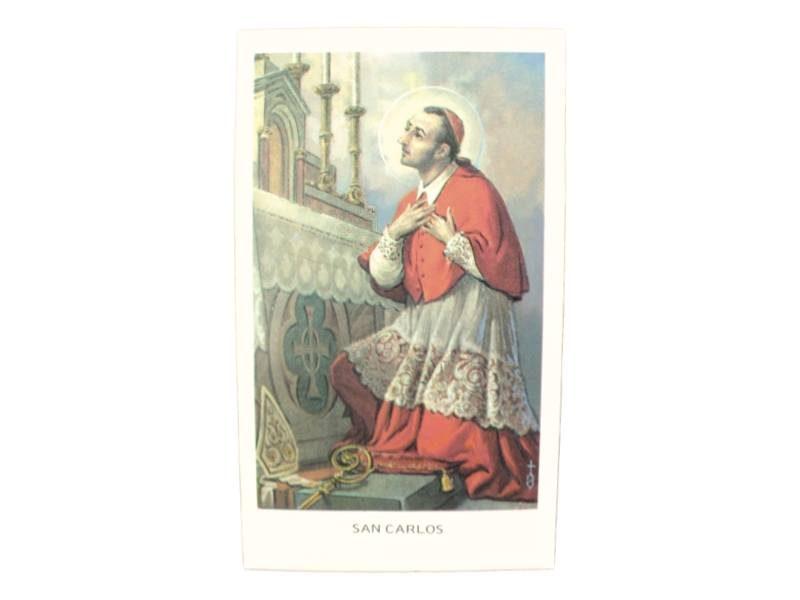 Estampita San Carlos Borromeo frente