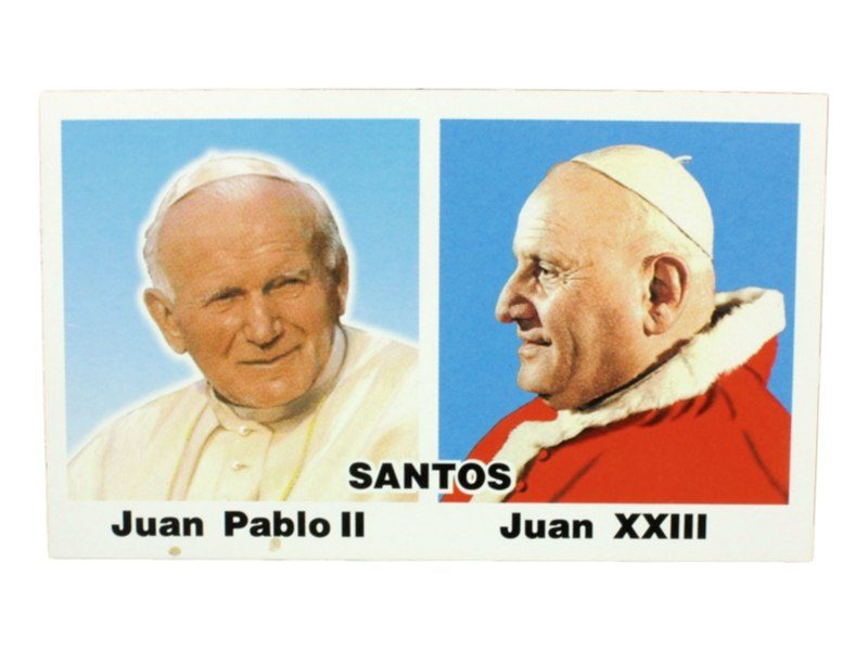 Estampita Juan Pablo II y Juan XIII frente