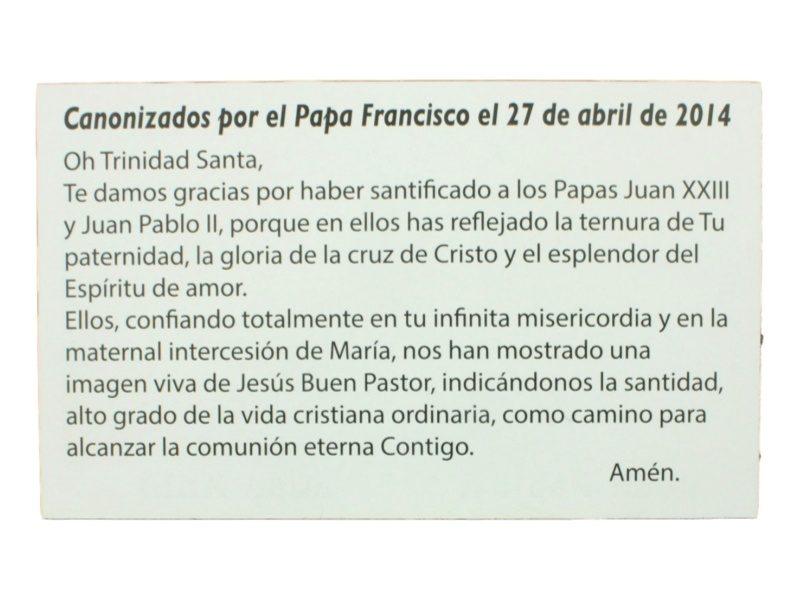 Estampita Juan Pablo II y Juan XIII oracion