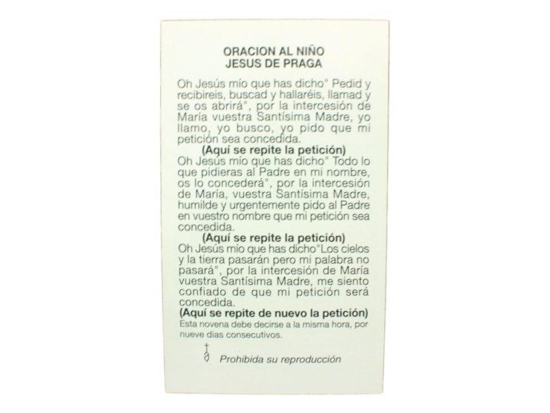 Estampita Niño Jesus de Praga oracion
