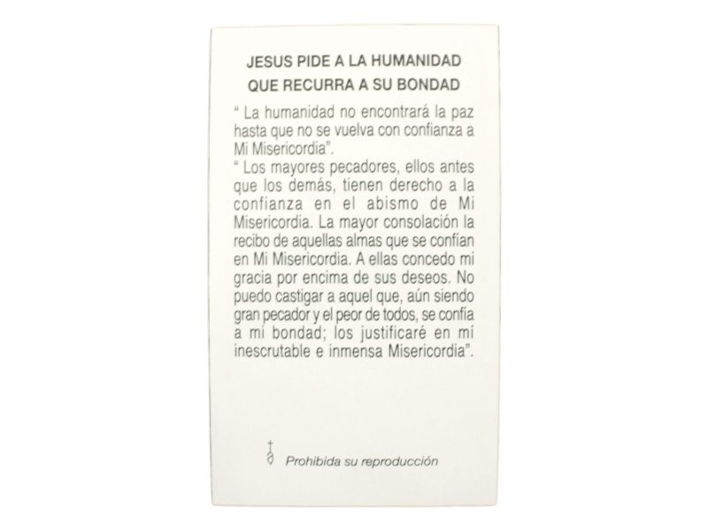 Estampita Jesus Misericordioso oracion