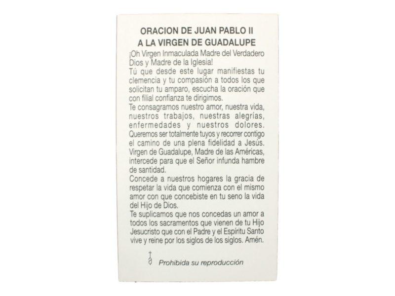 Estampita Virgen de Guadalupe oracion