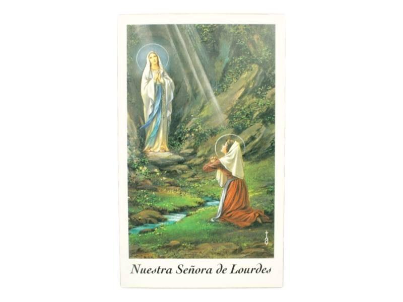 Estampita Virgen Nuestra Señora de Lourdes frente
