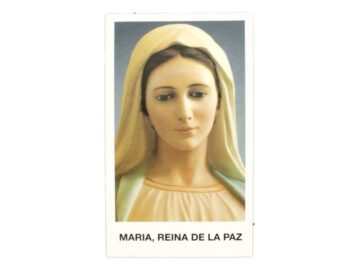 Estampita Maria Reina de la Paz frente