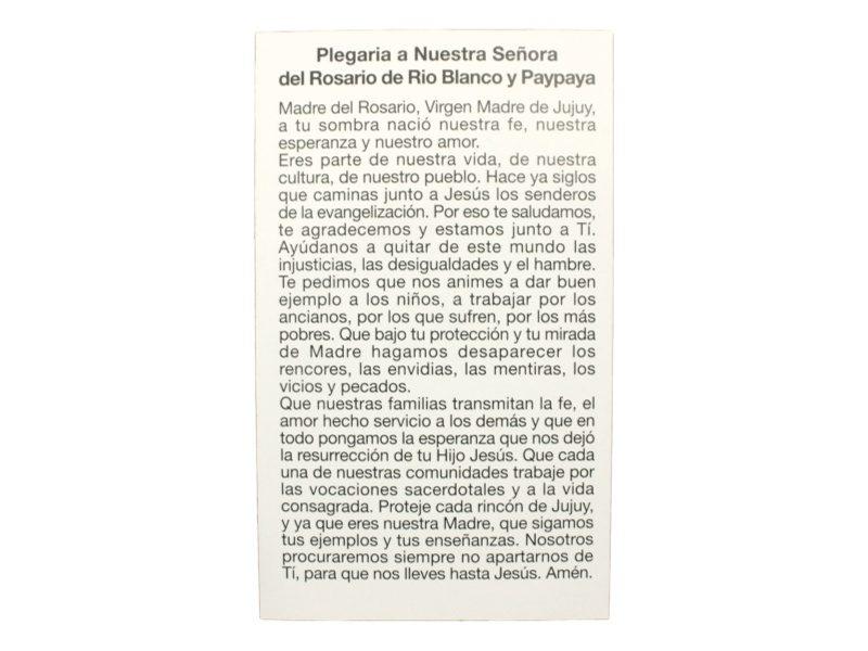 Estampita Nuestra Señora de Paipaya y Rio Blanco oracion