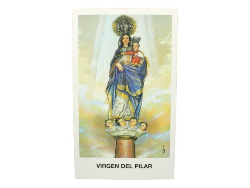 Estampita Virgen del Pilar frente